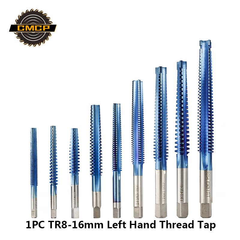 1pc HSS TR8-TR16mm Left Hand Machine Screw Tap Nano Blue Coated Trapezoidal Thread Tap For Metal Drilling Metric Screw Tap Drill