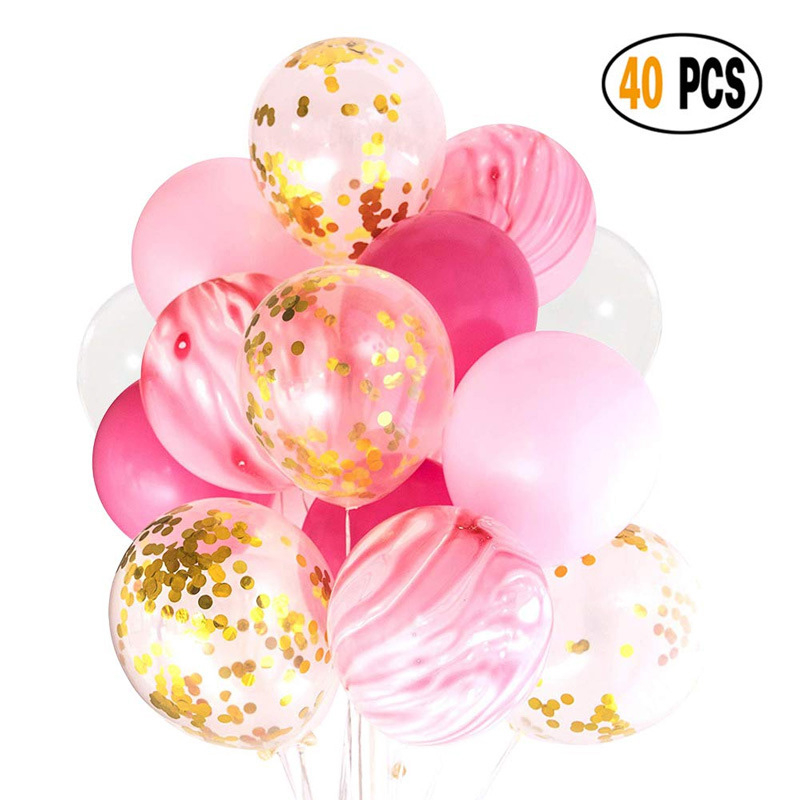 40pcs 12 Inch Multi Color Latex Marble Balloon Pink Gold Confetti Ballon Set Birthday Wedding Baby Shower Party Decorations
