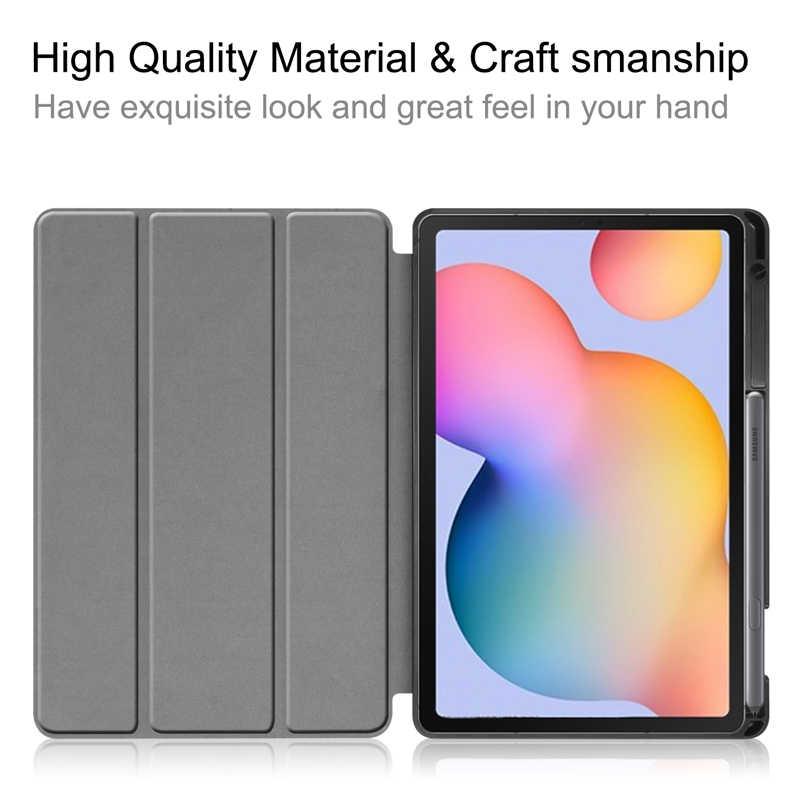 สำหรับ Samsung Galaxy Tab S6 Lite 10.4 นิ้ว SM-P610 P615 กรณีผู้ถือดินสอ Tri-Fold ฝาครอบแท็บเล็ตสำหรับ TAB S6 Lite