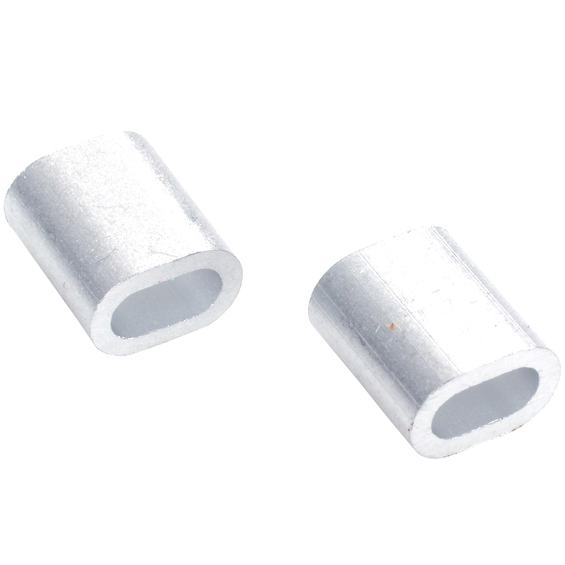TOP 50 X Oval Aluminum H Uelsen Clamps For 2 Mm Wire Rope Press Clamp Silver Tone