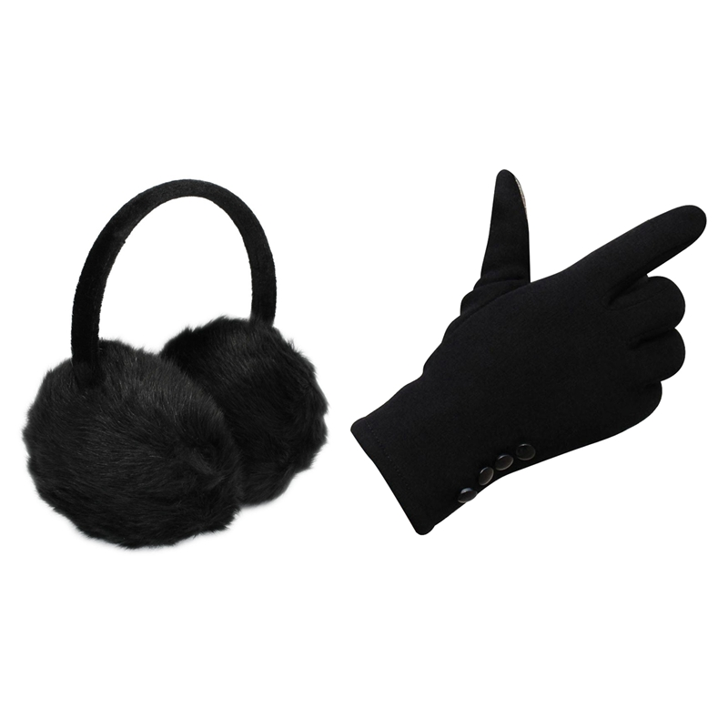 1Pcs Headband Black Faux Fur Winter Ear Cover Earmuffs & 1 Pair Womens Winter Cotton Press Screen Outdoor Sport Party Warm Glove