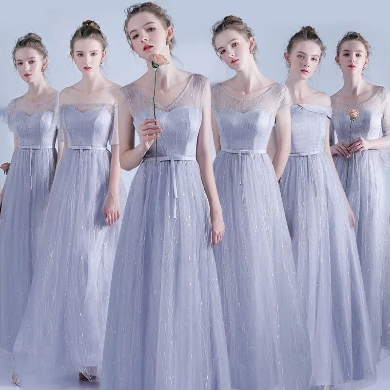 Silver Grey Women Dress For Wedding Party Bridesmaid Dresses Long A Line Backless Women Elegant Dresses For Weddings Gala Gowns