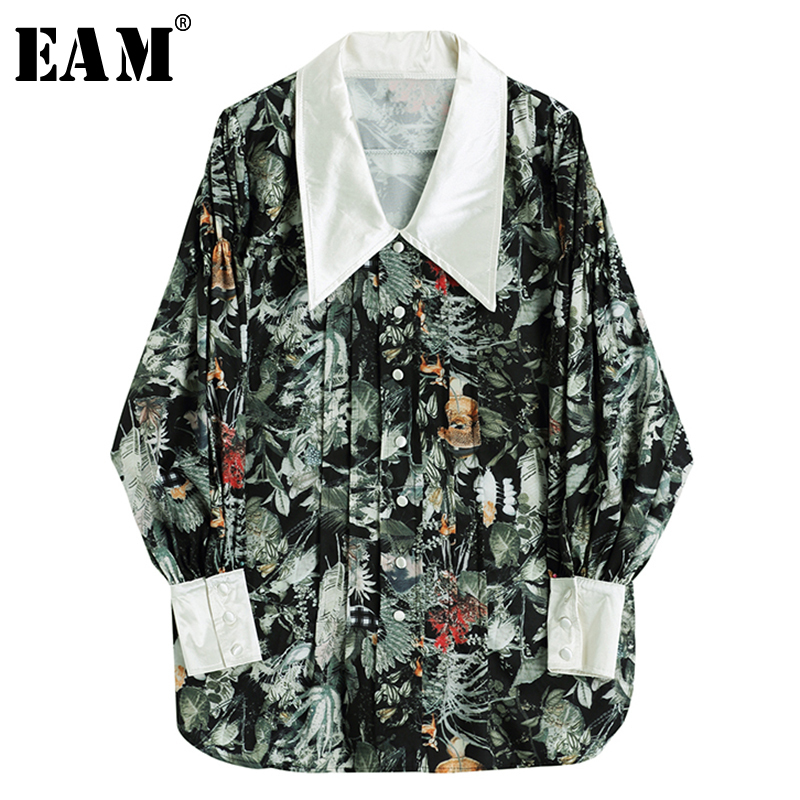 [EAM] Women Green Pattern Printed Temperament Blouse New Lapel Long Sleeve Loose Fit Shirt Fashion Tide Spring Autumn 2020 1Y911