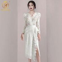Smthma high-end novo outono feminino branco plissado vestido de renda sexy decote em v mangas compridas férias roupas femininas vestido