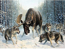 Wildebeest and Wolves Diamond Painting 5d Diy  Embroidery Full Square Home Decor