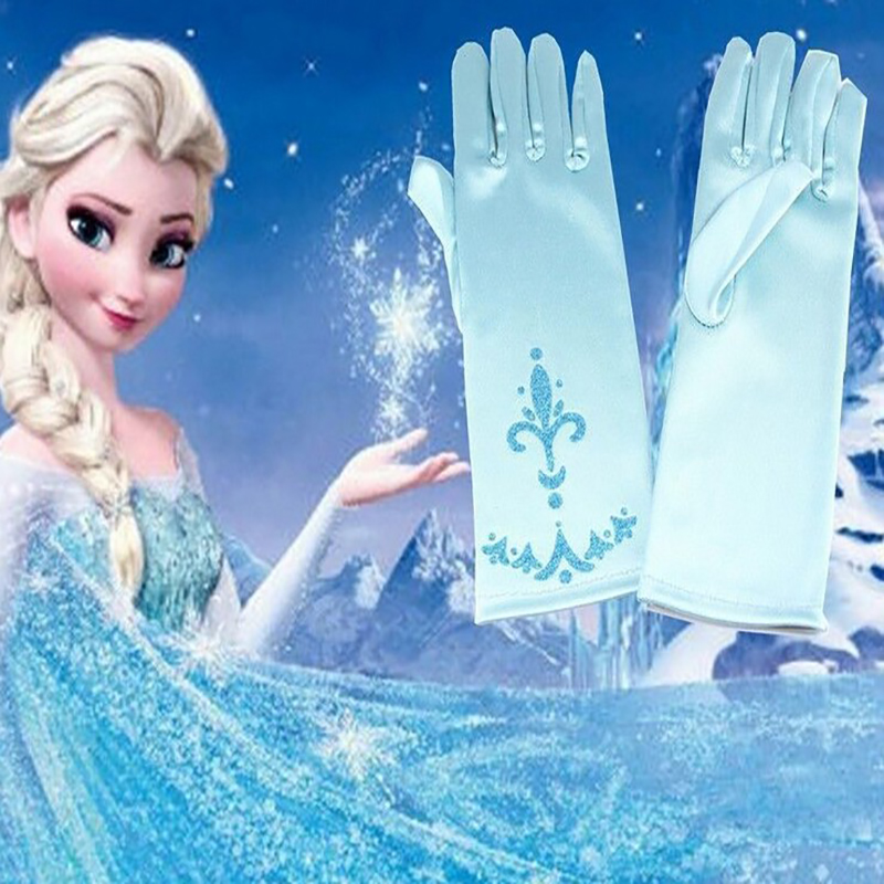 Cosplay Accessories Gloves Children Handschoen Princess Elsa Anna  Print Long Fingers Girl's Gloves Snow Queen Brocade Gloves