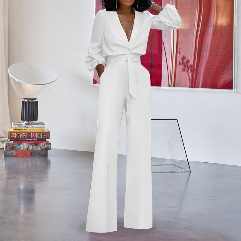 Women Sexy Deep V-Neck Jumpsuits Wide Leg Pants Elegant Bandage Romper Puff Sleeve Casual Party Overalls Sashes Female