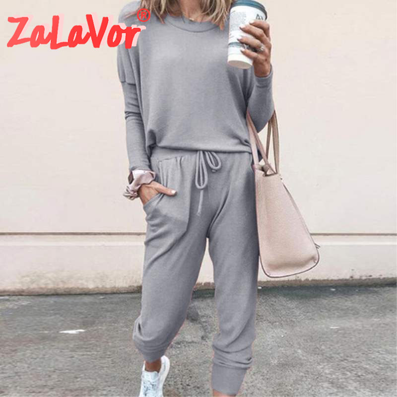 ZALAVOR 2020 Spring Leisure Sports Suit Color-Printing Outdoor Long-Sleeved Hooded Suit Daily Soft Women Casual Trousers
