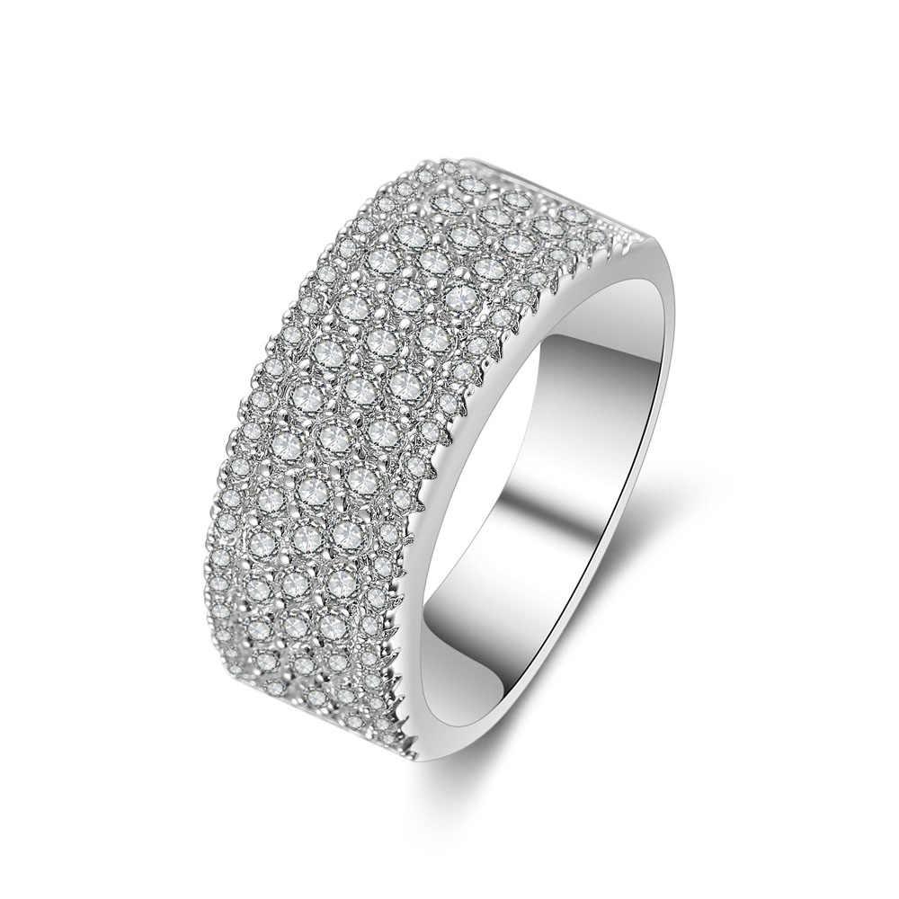 ใหม่แฟชั่นแหวนผู้หญิงคู่แถวแหวนสำหรับชายสีขาวแหวนทองสำหรับสตรีและผู้ชายเครื่องประดับ Dropshipping