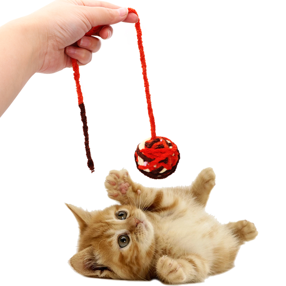 Cat Football Training Toys Pet Products Cat Teaser Chew Scratch Catch Toys Pet Cat Toys Rope Weave Ball Pet Teeth Cleaner image