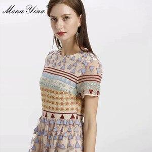 Image 3 - MoaaYina moda tasarımcısı elbise İlkbahar yaz kadın elbise kısa kollu örgü üçgen nokta nakış Vintage zarif elbiseler
