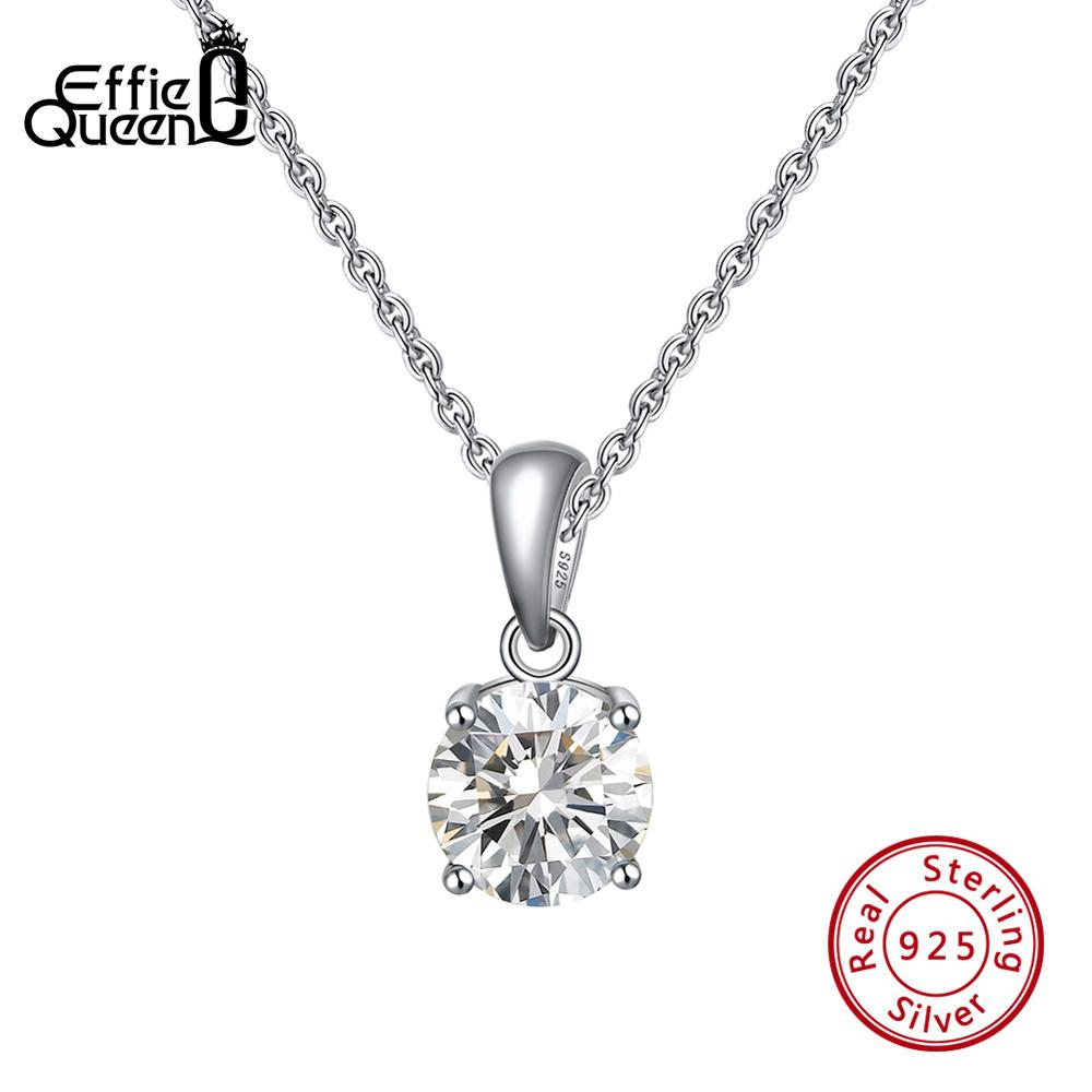 Effie Queen Genuine 925 Sterling Silver Necklaces Pendants For Women 12 Birthstones AAA Cubic Zircon Party Fine Jewelry TSN118