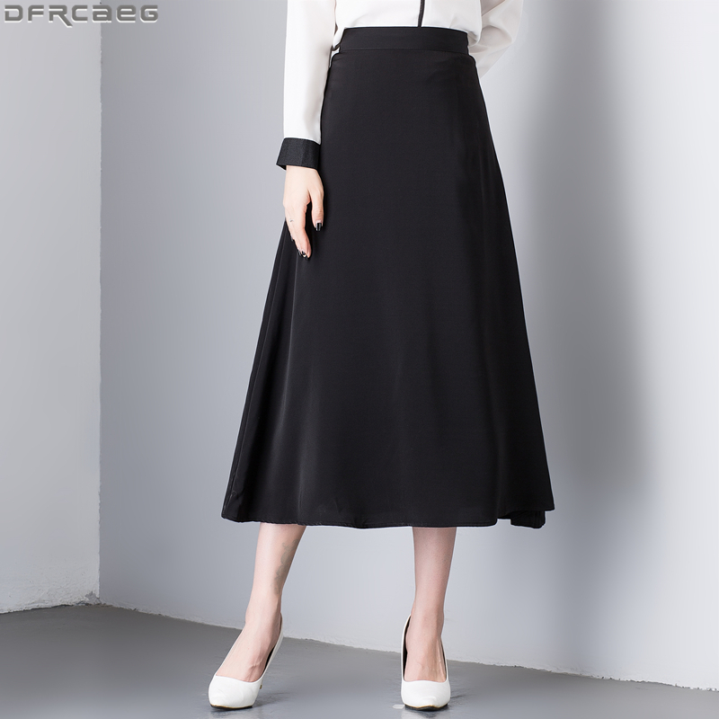 2019 Autumn Vintage Ladies Black Skirt Solid Retro Chic Long Skirts For Women High Waist A-line Jupe Longue Femme Satin Faldas