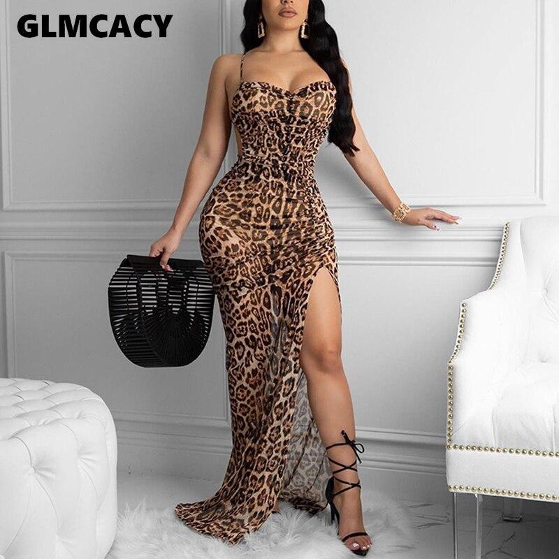 Women Leopard Printed Spaghetti Strap Pleated Slit Bodycon Dress Maxi Sexy & Club Sleeveless Plus Size Dresses