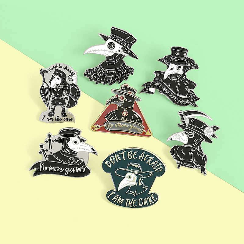 Gelap punk enamel pin Wabah dokter crow bros skull heart kartun lencana lencana kerah tas pakaian tas perhiasan hadiah grosir