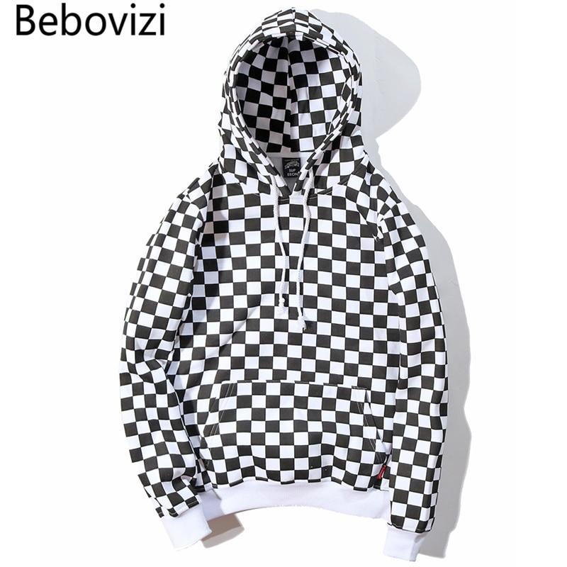 Bebovizi 2019 Mens Hip Hop Hoodie Sweatshirt Checkerboard Plaid Streetwear Harajuku Fleece Hooded Pullover Hipster