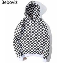 Bebovizi 2019 mężczyzna Hip Hop bluza z kapturem bluza szachownica Plaid bluza z kapturem Streetwear Harajuku bluza z polaru bluza z kapturem Hipster tanie tanio Pełna REGULAR Brak COTTON Luźne NONE