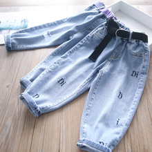 Jeans Spring Children's-Wear Embroidered Girls Wholesale Letter with Belts And