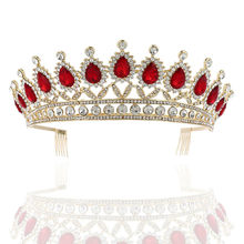 Wedding Hair Jewelry Red Green Blue Rhinestone Tiara Big Crowns Hair Comb Princess Party Prom Hair Accessories Birthday Tiara(China)