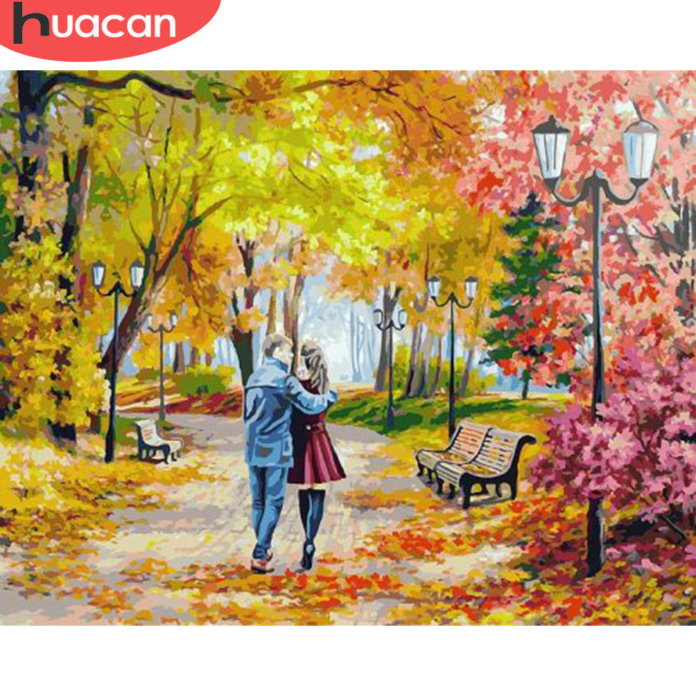HUACAN Painting By Numbers Lovers HandPainted Kits Drawing Canvas DIY Oil Pictures Autumn Tree Scenery Home Decor Gift
