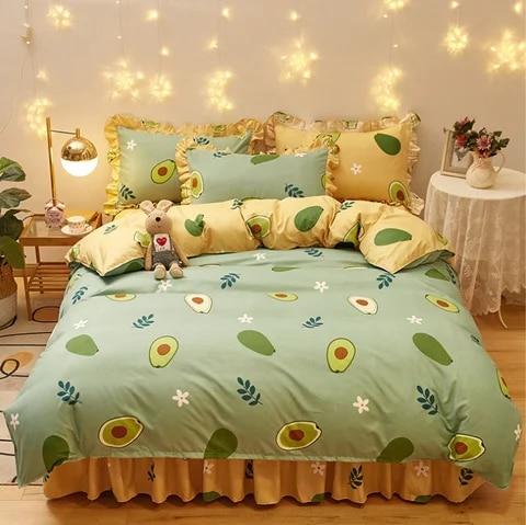 BBSET 4PCS Duvet Cover Set Avocado Korean Princess Style Small Fresh Bed Skirt Thick King Size Bedding Set  Ensemble De Literie