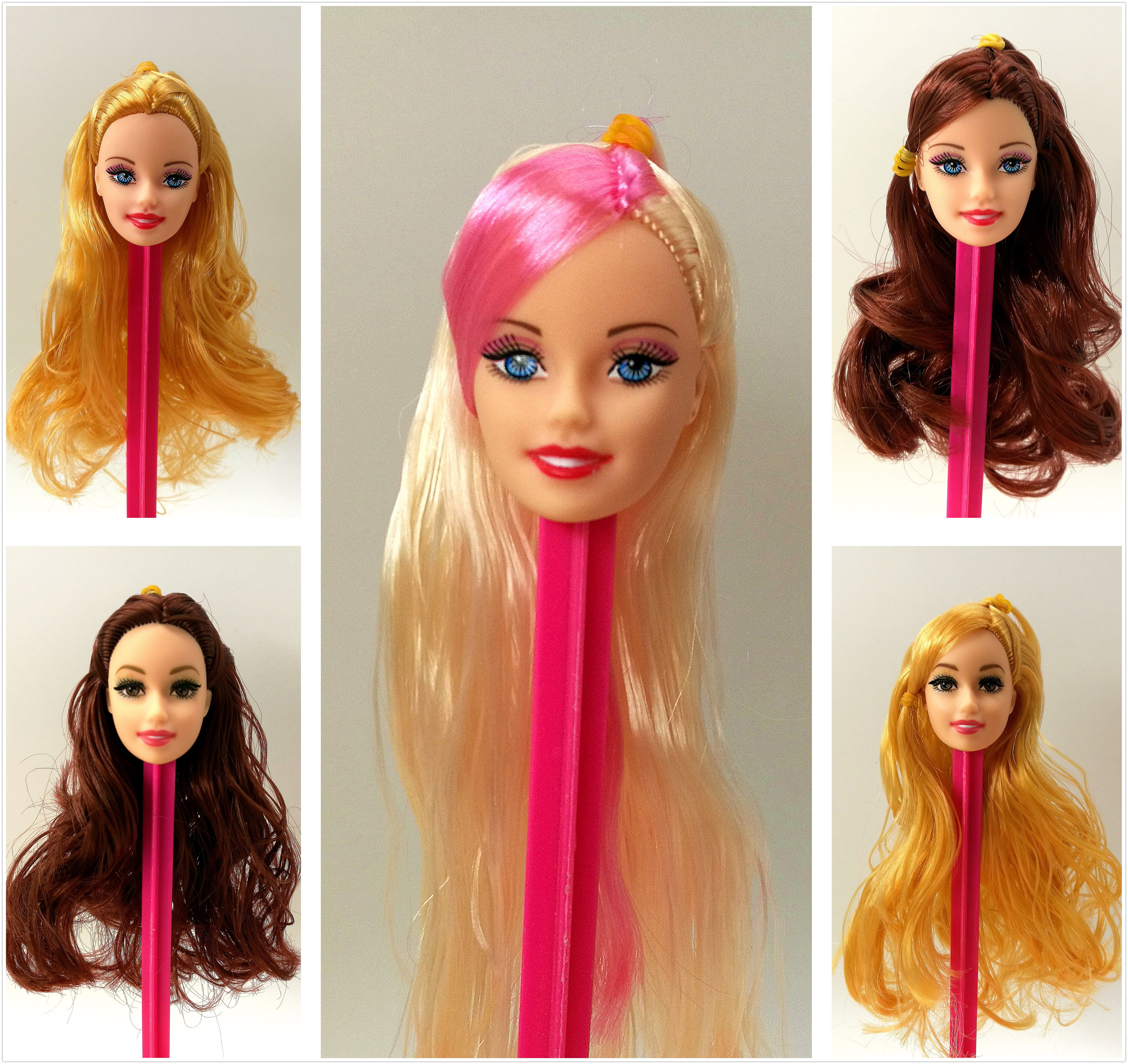 Lowest Price Excellent Quality Doll Head With Colorized Hair Girl Doll Accessories DIY Gift For Barbie Dolls Head