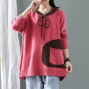 Image 5 - 最大ルル冬の韓国のファッションフィットネスジャンパーレディース厚みパンク服レディースフード付き綿ニットセーターヴィンテージプルオーバー