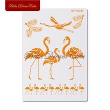 Трафареты для торта с изображением фламинго и животных настенные