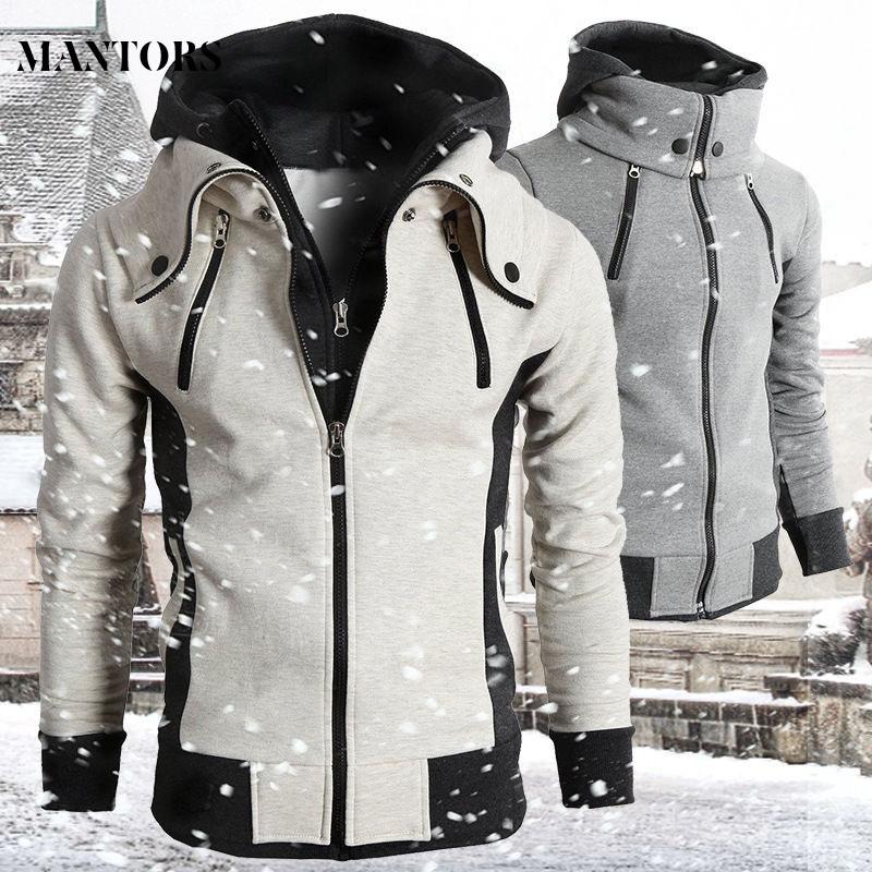 2021 Zipper Men Jackets Autumn Winter Casual Fleece Coats Bomber Jacket Scarf Collar Fashion Hooded Male Outwear Slim Fit Hoody