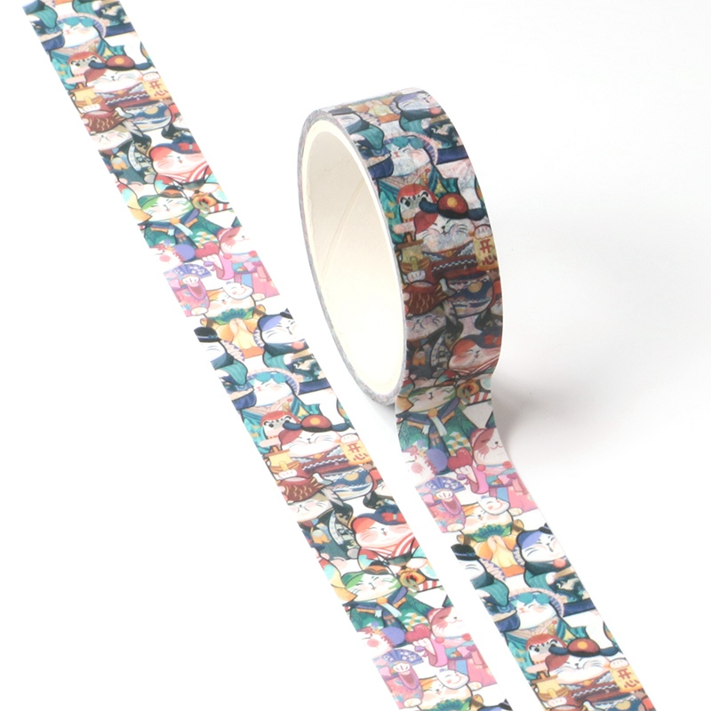NEW 1X Cute Lucky Cat Washi Tape For DIY Planner Scrapbooking Decorative Masking Tape School Office Supplies
