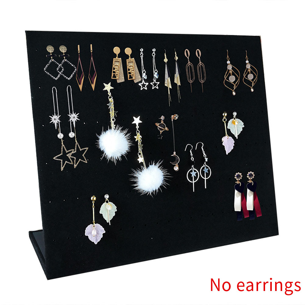 Home Earring Holder L Shape Display Stand Velvet Fabric Necklace Bracelet Jewelry Organizer Decoration Hanging Desktop Gift