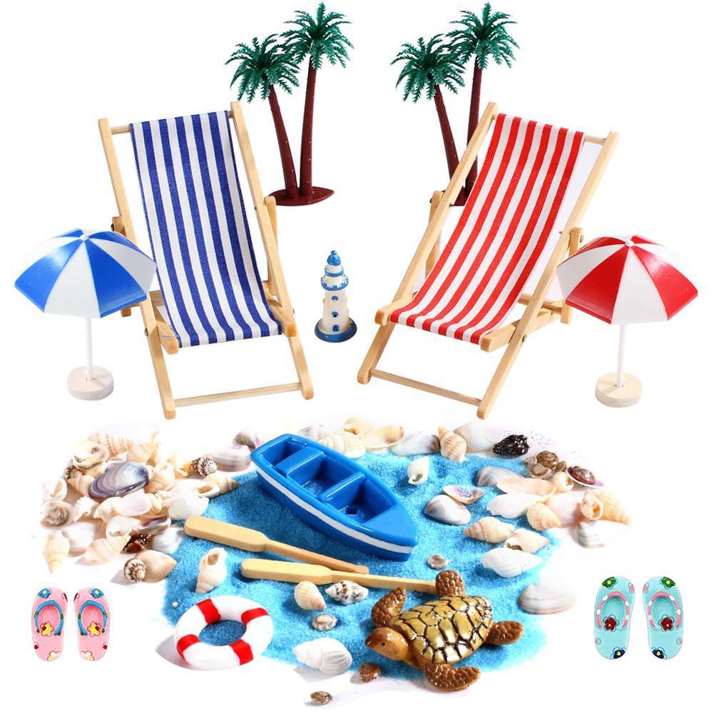 Mini Sun Lounger Decorated Palm Beach Umbrella Boat Blue Sand Miniature Landscape DIY Fairy Garden Doll House Decoration