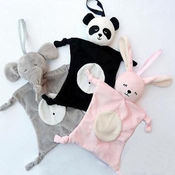 28*28cm Cartoon Elephant Rabbit Bear Baby Plush Dolls Saliva Towel Comforter Toys for Children Multi-function Baby Towels Wipes