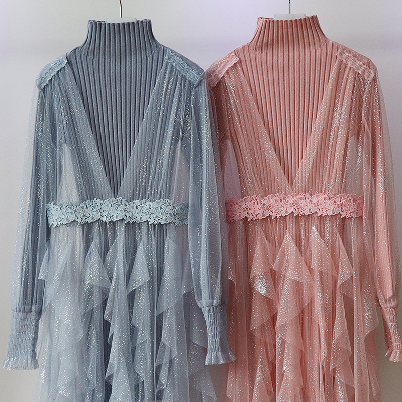 2Pcs/set Knee-Length Tulle Knit Gray Blue Bridesmaid Dress Pink Elegant Dress Women For Wedding Party Vintage Prom Sexy Vestidos