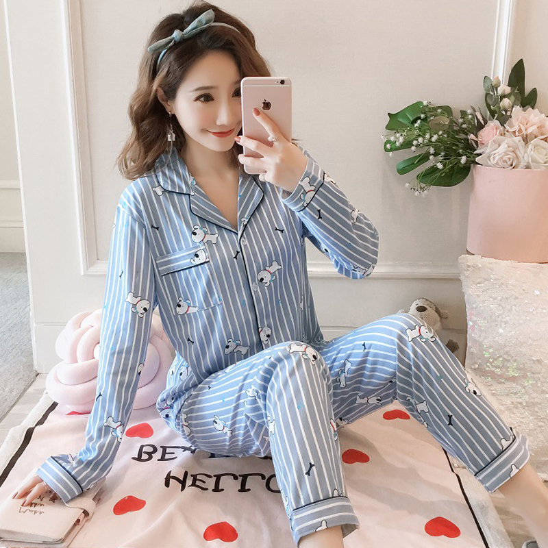 Pajamas For Women Long Sleeve Sleepwear 2 Pieces Womens Pajamas Sleepwear Cute Sweat Pyjamas Women New Pajamas Set Long Sleeve