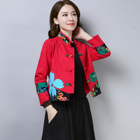 Vintage Ethnic Style Coat Women Short Cotton Jacket Embroidery Flower Clothing Famale Printing Outerwear Womens 2019 Autumn