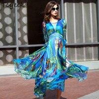 Summer women's silk party dress elegant size long wave beach Chiffon Dress villano