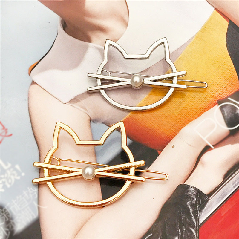 Hollow Out Cat Hair Pin Fashion Cute Imitation Pearl Hairpin Side Clip Barrette Auxiliary Modelling Accessories For Women Gifts