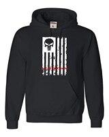 hoodies men funny Printed hoodie sweatshirt cotton Long sleeve Adult American Flag Skull Military Sweatshirt Hoodie