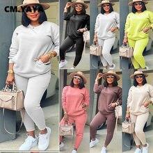 CM.YAYA-Conjunto de otoño para mujer, sudadera de manga larga, pantalones de leggings, chándal de bolsillos, conjunto de dos piezas para Fitness
