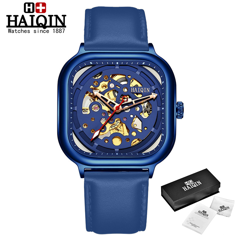 HAIQIN Fashion Sport Mens Watches top brand luxury Square Mechanical watch men wirstwatch Hollow skeleton erkek kol saati 2019
