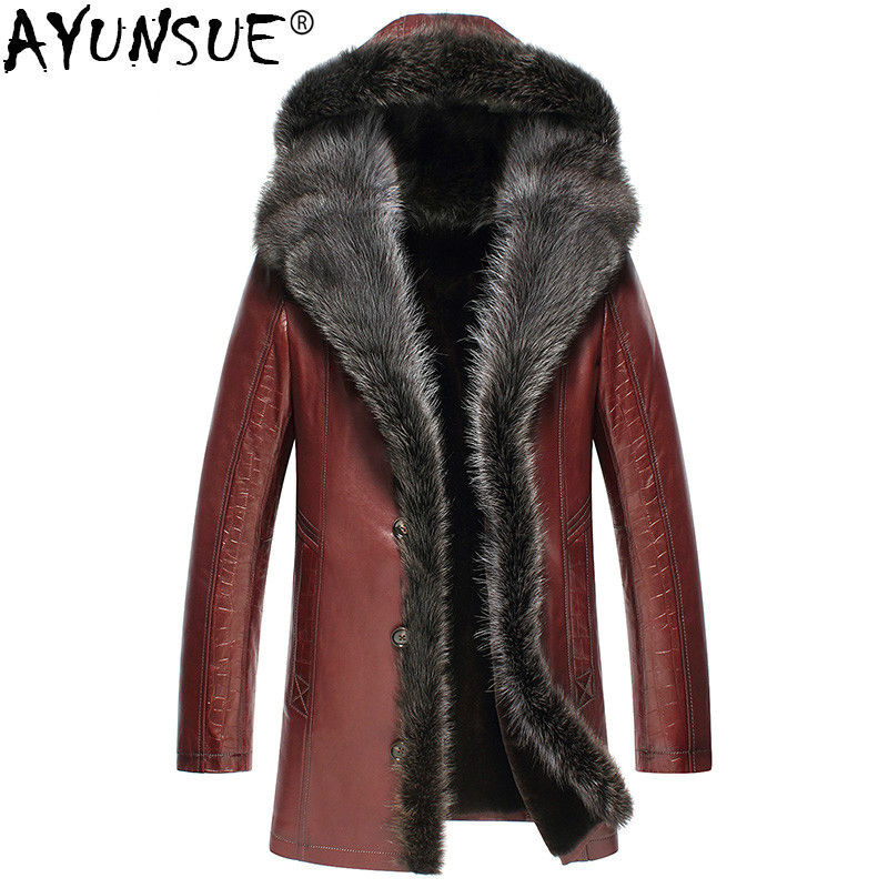 Chaqueta de cuero genuino de invierno AYUNSUE para hombre abrigo de piel de oveja auténtica para hombre abrigo de piel de mapache forro de lana abrigo de lujo cálido 3125