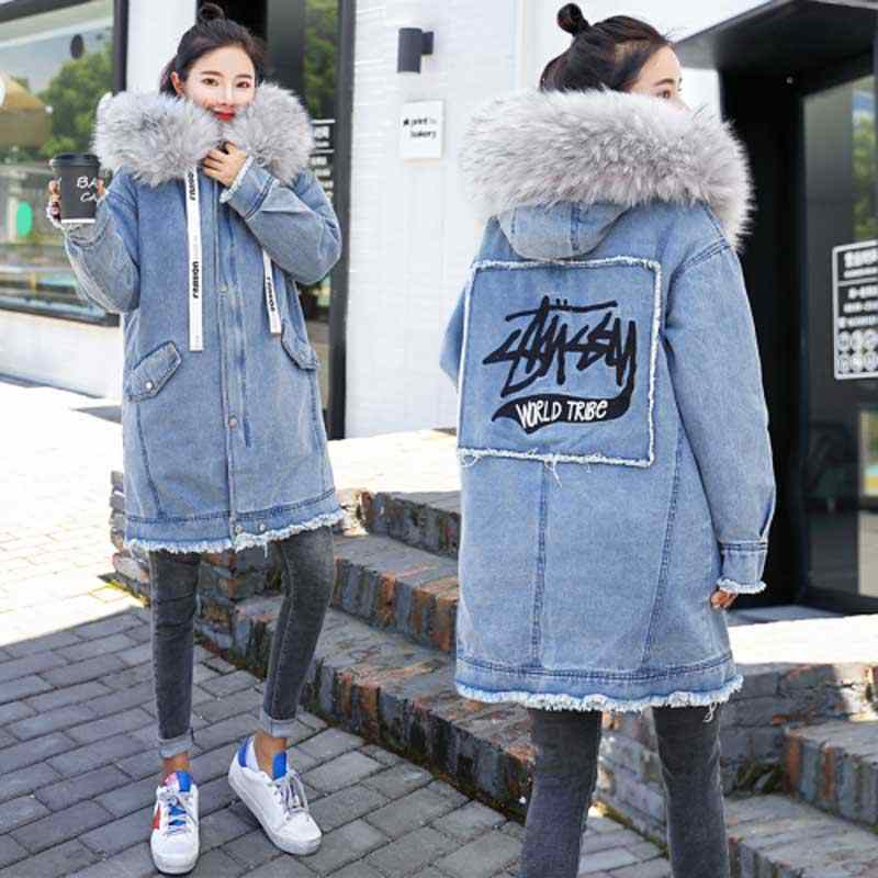 Warm denim jacket 2019 winter new embroidered long hooded denim coat female Korean straight big fur collar thick woman coat