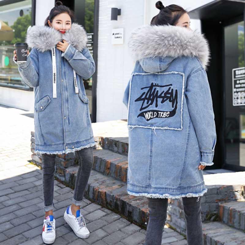 Теплая джинсовая куртка 2019 зима новое вышитое длинное джинсовое пальто женское корейское Прямое пальто с большим меховым воротником плотное Женское пальто