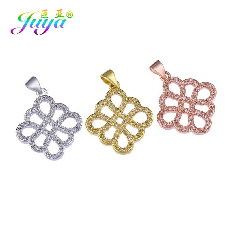 Juya ตกแต่งเครื่องประดับอุปกรณ์ Micro Pave Zircon ทอง/เงิน/Rose Gold จีน Knot Charms จี้ Fit ผู้หญิงเครื่องประดับทำ