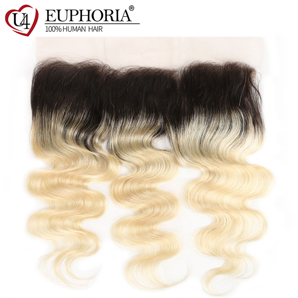 Brazilian Body Wave Lace Frontal 13x4inch Euphoria 100% Remy Human Hair Closure Middle/Free Part 1B 613 Ombre Blonde Frontal image