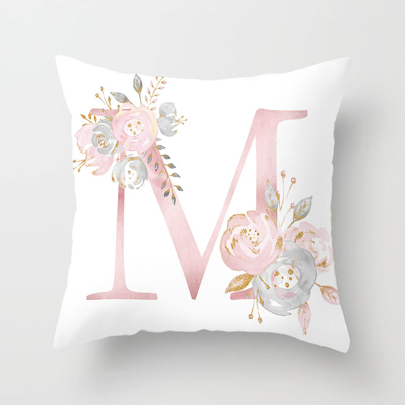 Pillow Cover Decorative Pink Letter Printed Cushion Covers