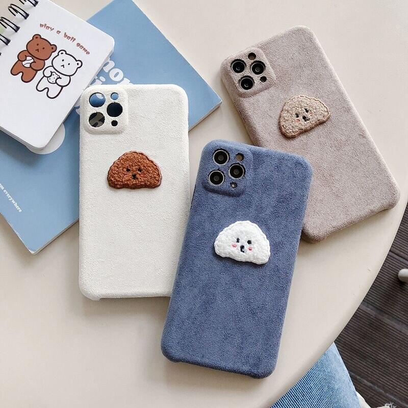 Cute Teddy dog Soft Microfiber Fabric Phone Case For iphone 11 Pro Max 7 8 plus X XR XS Max se 2020 Cover Fashion Cartoon Funda