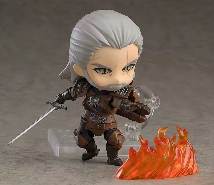 10CM Q version Witcher ed 3 Wild Hunt 907 Geralt White Wolf Geralt PVC Action Figures