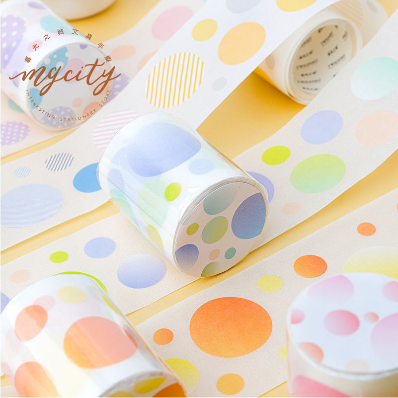 40mm Colorful Dot Geometric Washi Tape Scrapbooking Decorative Adhesive Tapes Paper Japanese Stationery Sticker Adhesive Tape